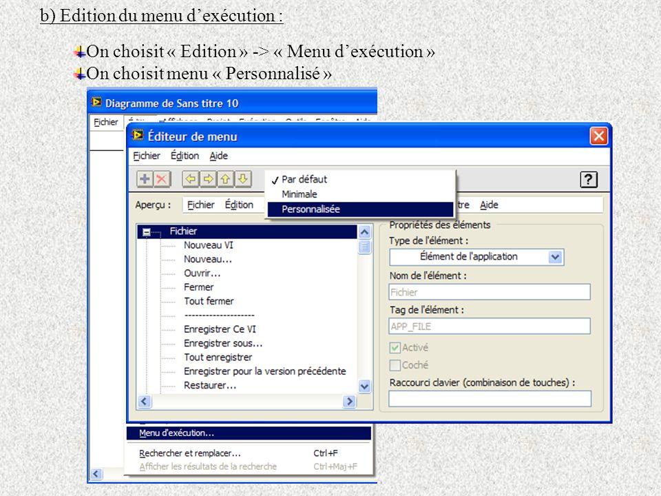 b) Edition du menu dexécution : On choisit « Edition » -> « Menu dexécution » On choisit menu « Personnalisé »