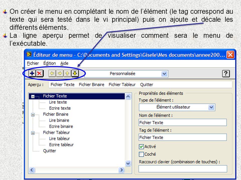 On créer le menu en complétant le nom de lélément (le tag correspond au texte qui sera testé dans le vi principal) puis on ajoute et décale les différents éléments.