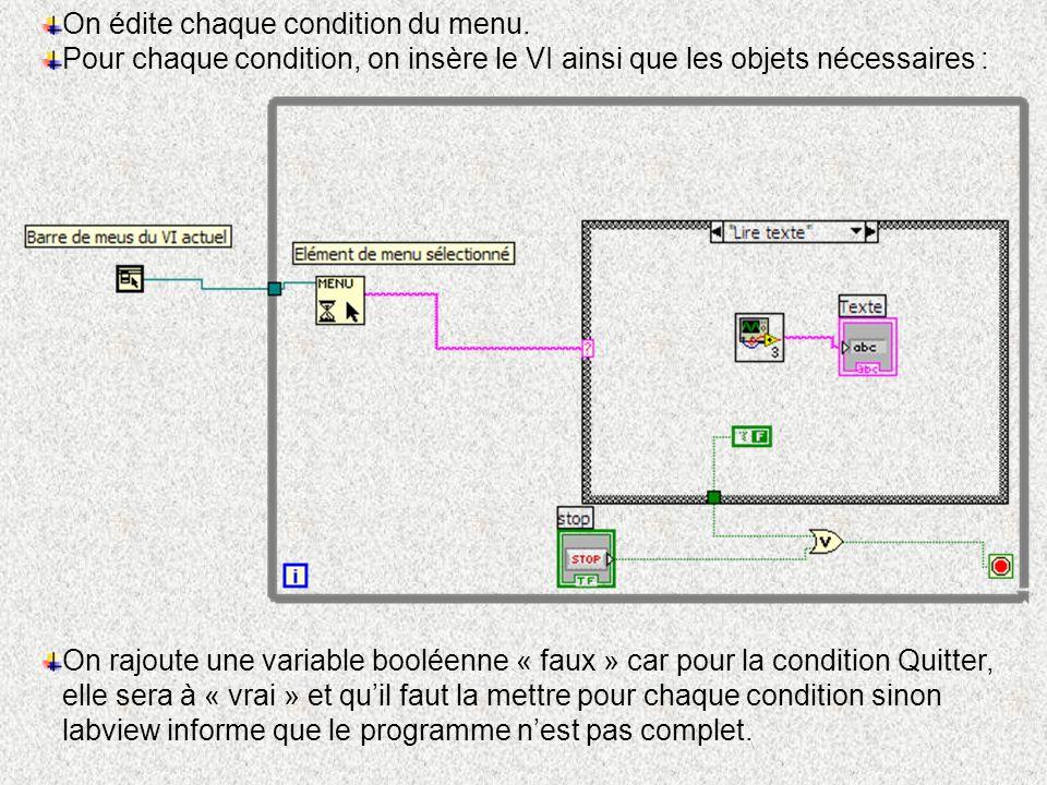 On édite chaque condition du menu. Pour chaque condition, on insère le VI ainsi que les objets nécessaires : On rajoute une variable booléenne « faux