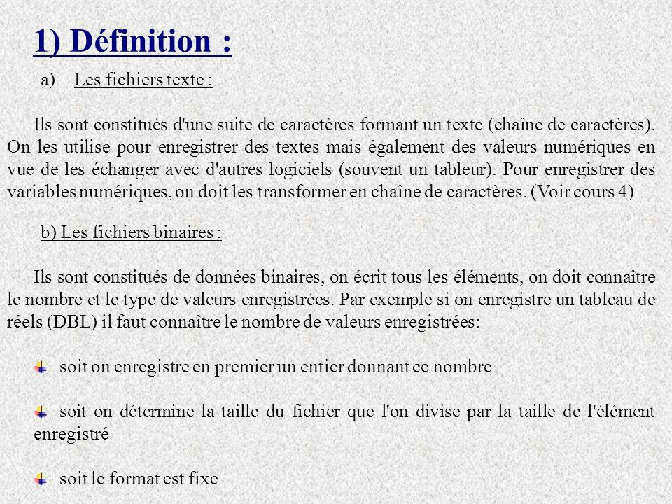 1) Définition : a)Les fichiers texte : Ils sont constitués d une suite de caractères formant un texte (chaîne de caractères).