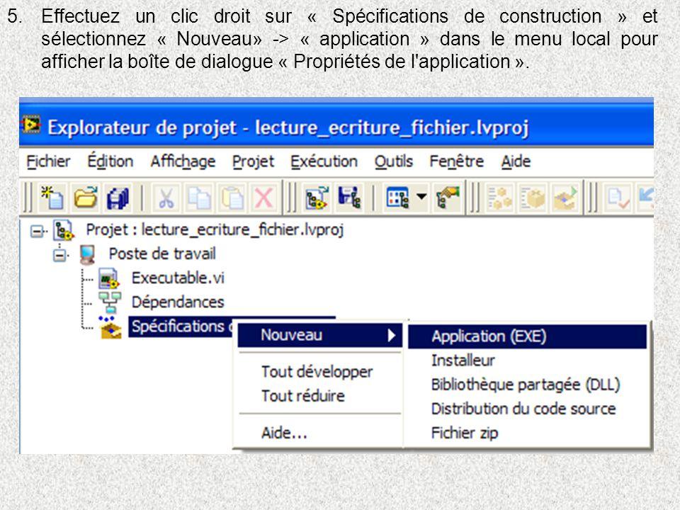 5.Effectuez un clic droit sur « Spécifications de construction » et sélectionnez « Nouveau» -> « application » dans le menu local pour afficher la boî