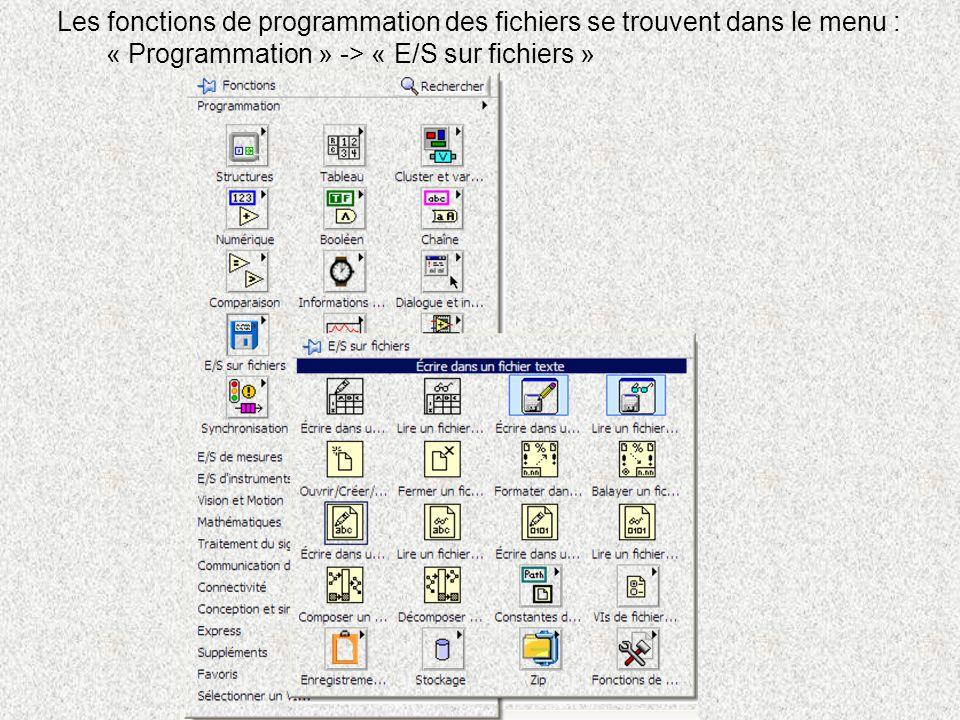Les fonctions de programmation des fichiers se trouvent dans le menu : « Programmation » -> « E/S sur fichiers »
