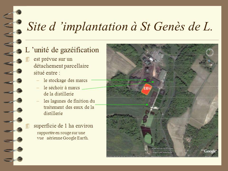Site d implantation à St Genès de L. L unité de gazéification 4 est prévue sur un détachement parcellaire situé entre : –le stockage des marcs –le séc