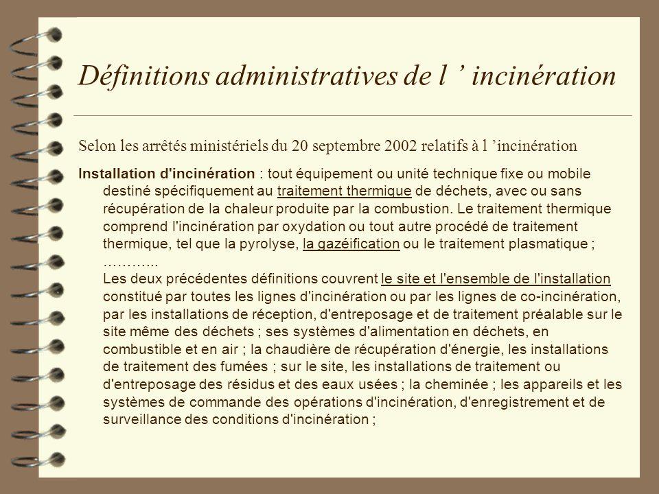 Définitions administratives de l incinération Selon les arrêtés ministériels du 20 septembre 2002 relatifs à l incinération Installation d'incinératio