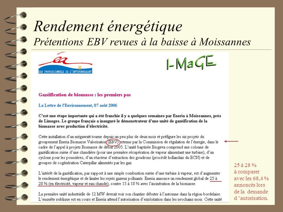 Rendement énergétique Prétentions EBV revues à la baisse à Moissannes 25 à 28 % à comparer avec les 68,4 % annoncés lors de la demande d autorisation.