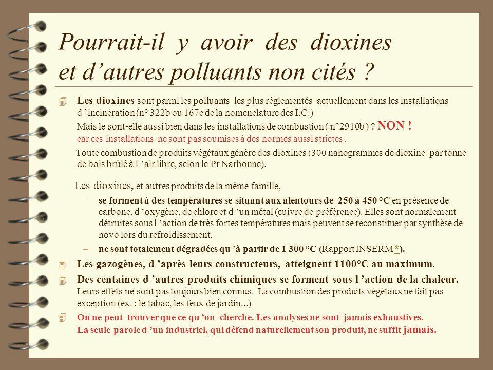 Pourrait-il y avoir des dioxines et dautres polluants non cités ? 4 Les dioxines sont parmi les polluants les plus réglementés actuellement dans les i
