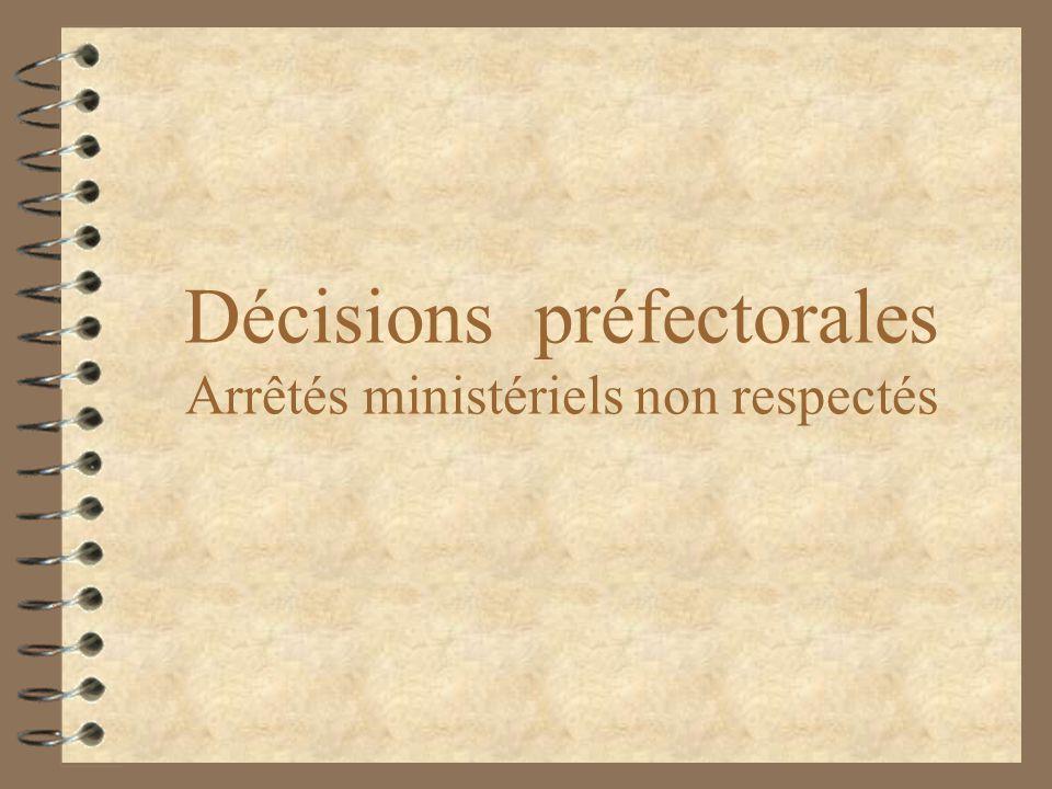 Décisions préfectorales Arrêtés ministériels non respectés