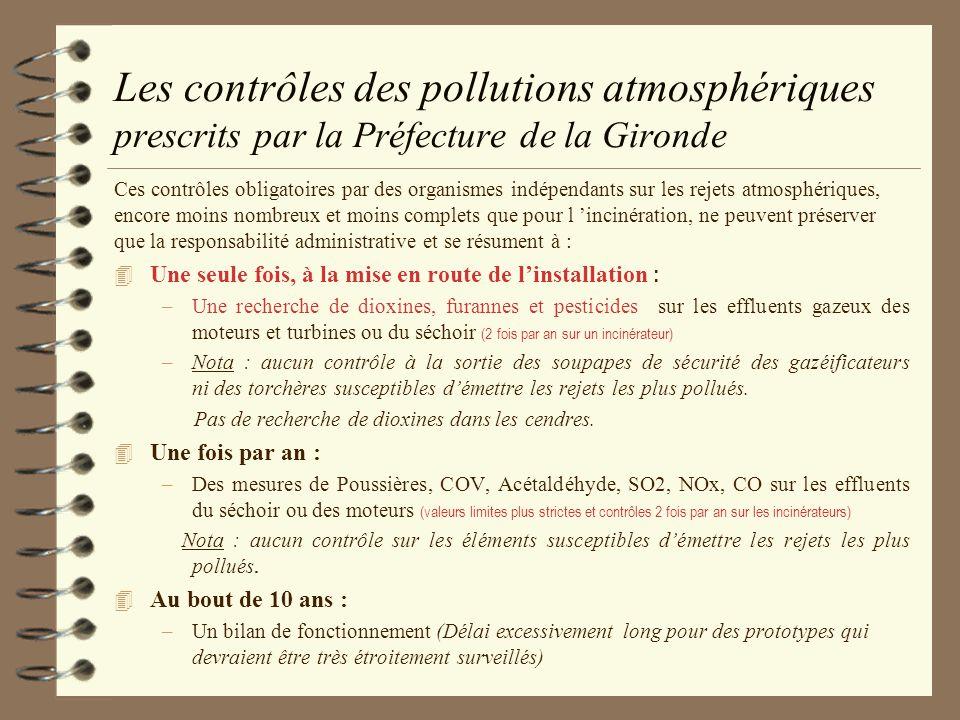 Les contrôles des pollutions atmosphériques prescrits par la Préfecture de la Gironde Ces contrôles obligatoires par des organismes indépendants sur l