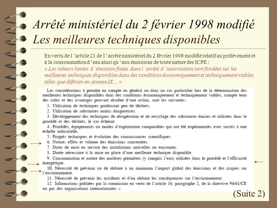 Arrêté ministériel du 2 février 1998 modifié Les meilleures techniques disponibles En vertu de l article 21 de l arrêté ministériel du 2 février 1998