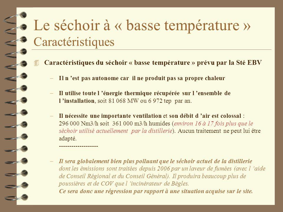 Le séchoir à « basse température » Caractéristiques 4 Caractéristiques du séchoir « basse température » prévu par la Sté EBV –Il n est pas autonome ca
