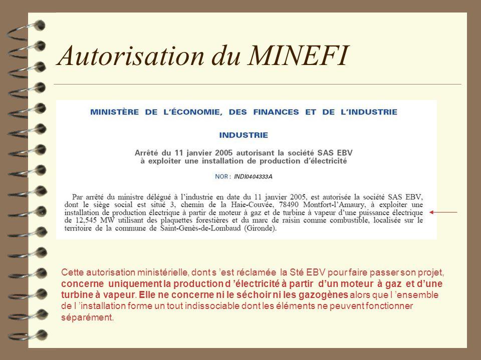 Autorisation du MINEFI Cette autorisation ministérielle, dont s est réclamée la Sté EBV pour faire passer son projet, concerne uniquement la productio