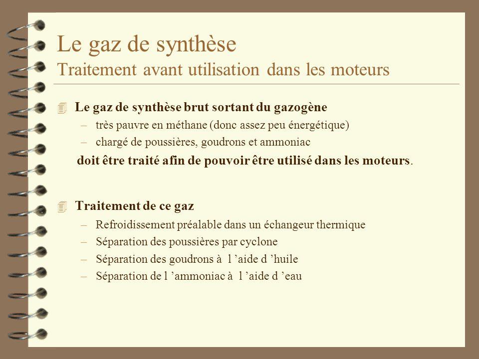 Le gaz de synthèse Traitement avant utilisation dans les moteurs 4 Le gaz de synthèse brut sortant du gazogène –très pauvre en méthane (donc assez peu