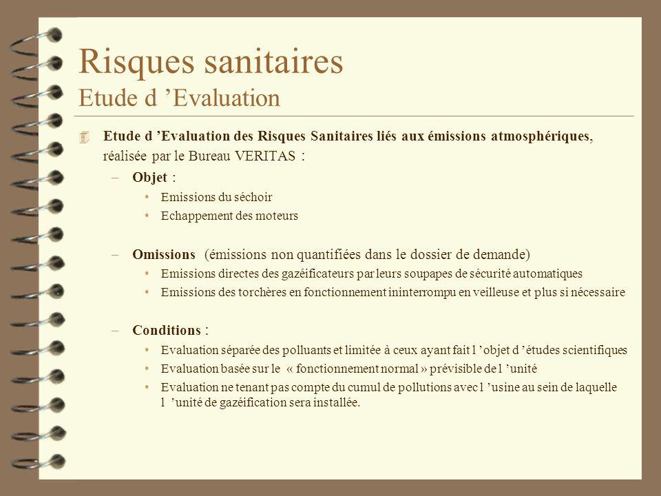 Risques sanitaires Etude d Evaluation 4 Etude d Evaluation des Risques Sanitaires liés aux émissions atmosphériques, réalisée par le Bureau VERITAS :