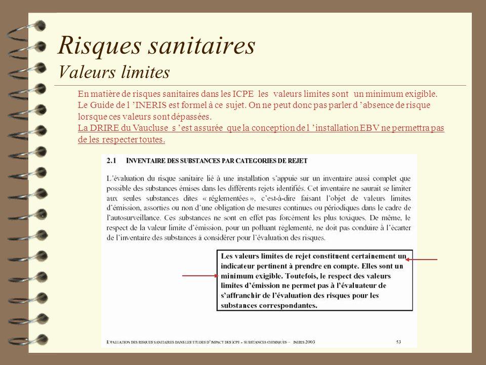 Risques sanitaires Valeurs limites En matière de risques sanitaires dans les ICPE les valeurs limites sont un minimum exigible. Le Guide de l INERIS e