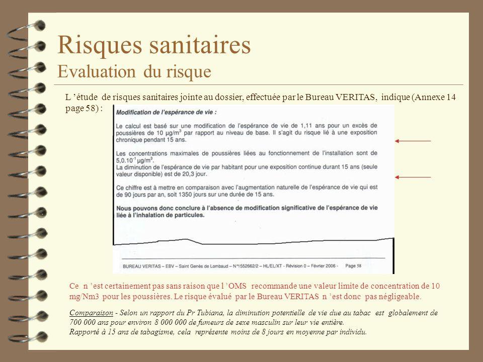 Risques sanitaires Evaluation du risque L étude de risques sanitaires jointe au dossier, effectuée par le Bureau VERITAS, indique (Annexe 14 page 58)