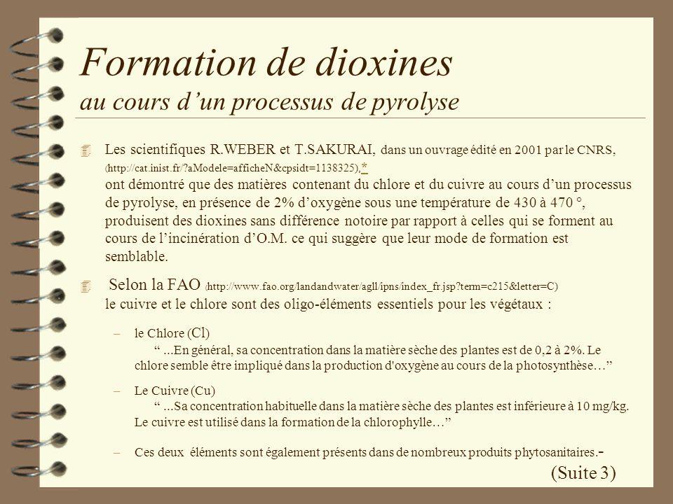 Formation de dioxines au cours dun processus de pyrolyse 4 Les scientifiques R.WEBER et T.SAKURAI, dans un ouvrage édité en 2001 par le CNRS, ( http:/