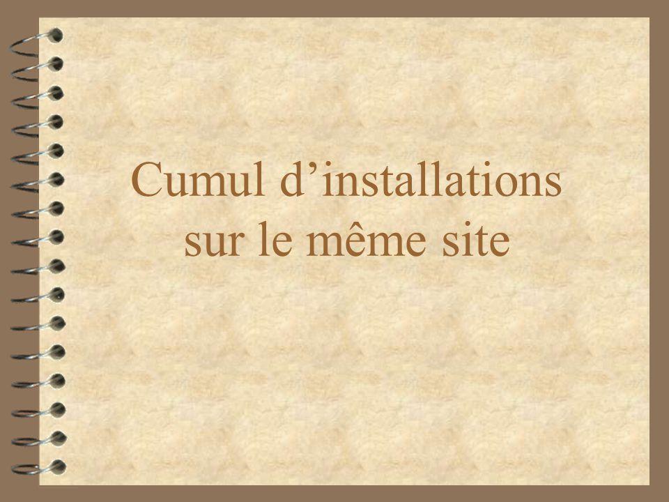 Cumul dinstallations sur le même site