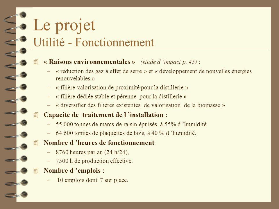 Le projet Utilité - Fonctionnement 4 « Raisons environnementales » (étude d impact p. 45) : –« réduction des gaz à effet de serre » et « développement