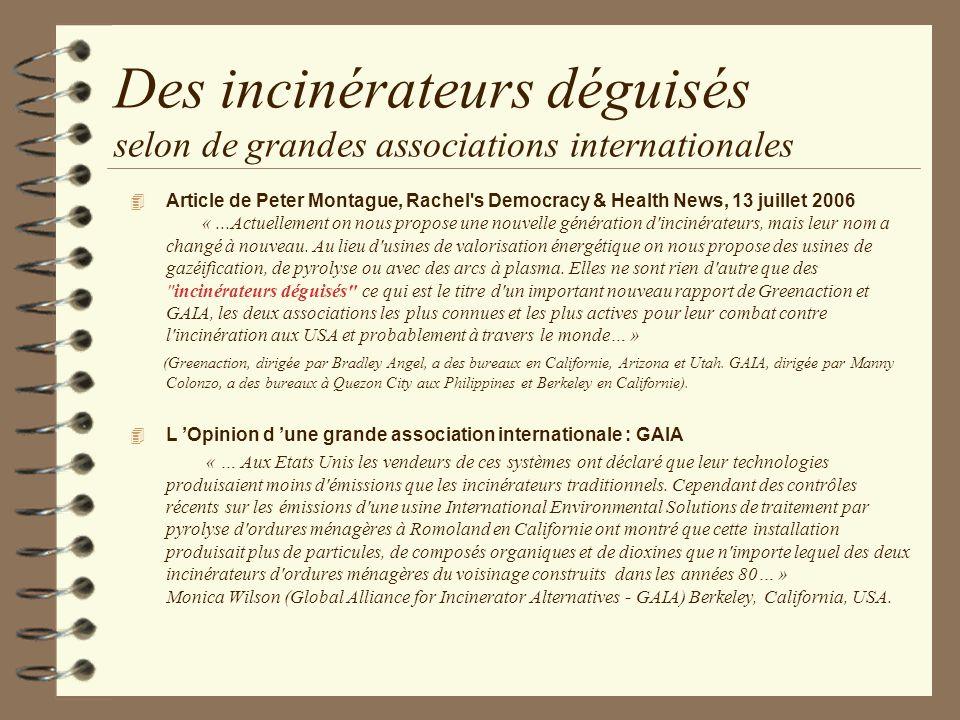 Des incinérateurs déguisés selon de grandes associations internationales Article de Peter Montague, Rachel's Democracy & Health News, 13 juillet 2006