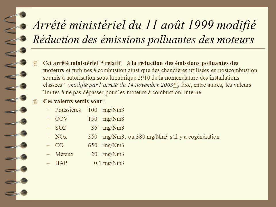 Arrêté ministériel du 11 août 1999 modifié Réduction des émissions polluantes des moteurs 4 Cet arrêté ministériel relatif à la réduction des émission