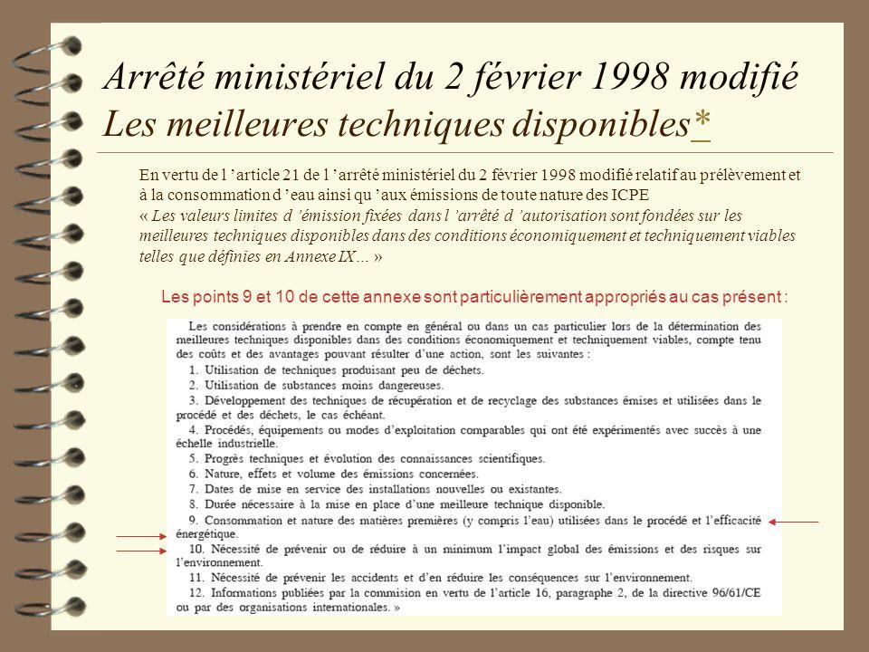 Arrêté ministériel du 2 février 1998 modifié Les meilleures techniques disponibles** En vertu de l article 21 de l arrêté ministériel du 2 février 199