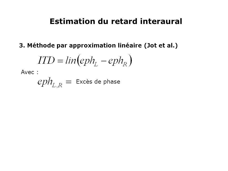 Estimation du retard interaural 3. Méthode par approximation linéaire (Jot et al.) Avec : Excès de phase