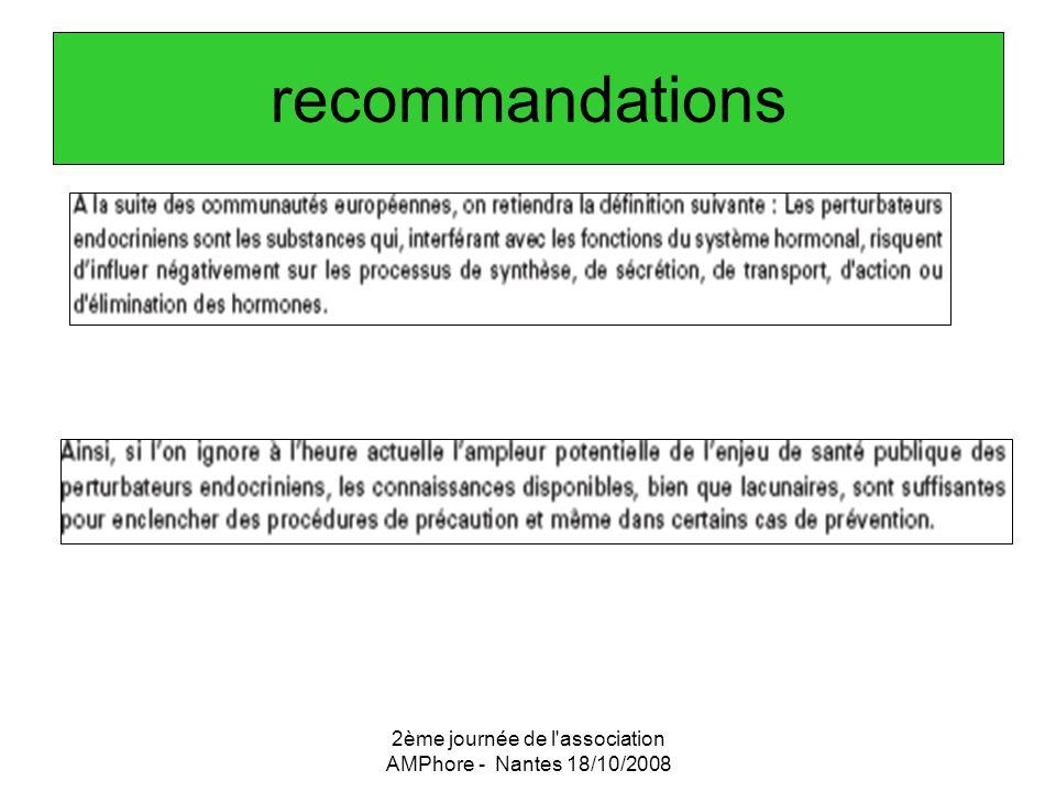 2ème journée de l'association AMPhore - Nantes 18/10/2008 recommandations