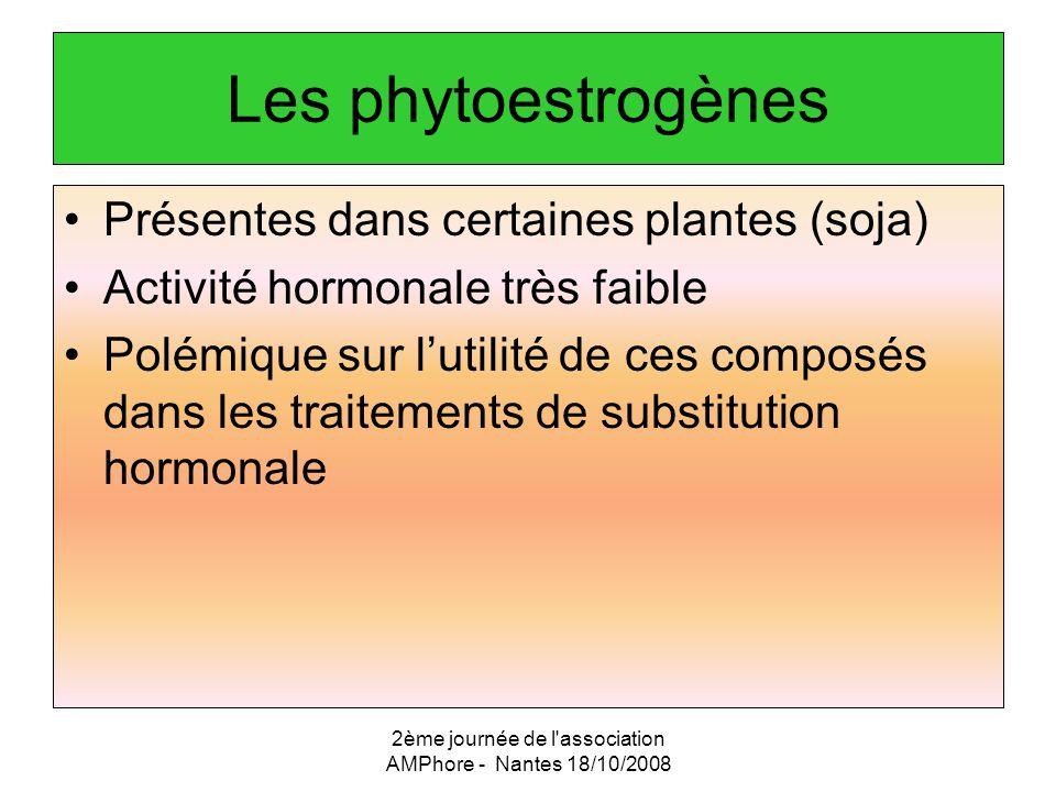 2ème journée de l'association AMPhore - Nantes 18/10/2008 Les phytoestrogènes Présentes dans certaines plantes (soja) Activité hormonale très faible P