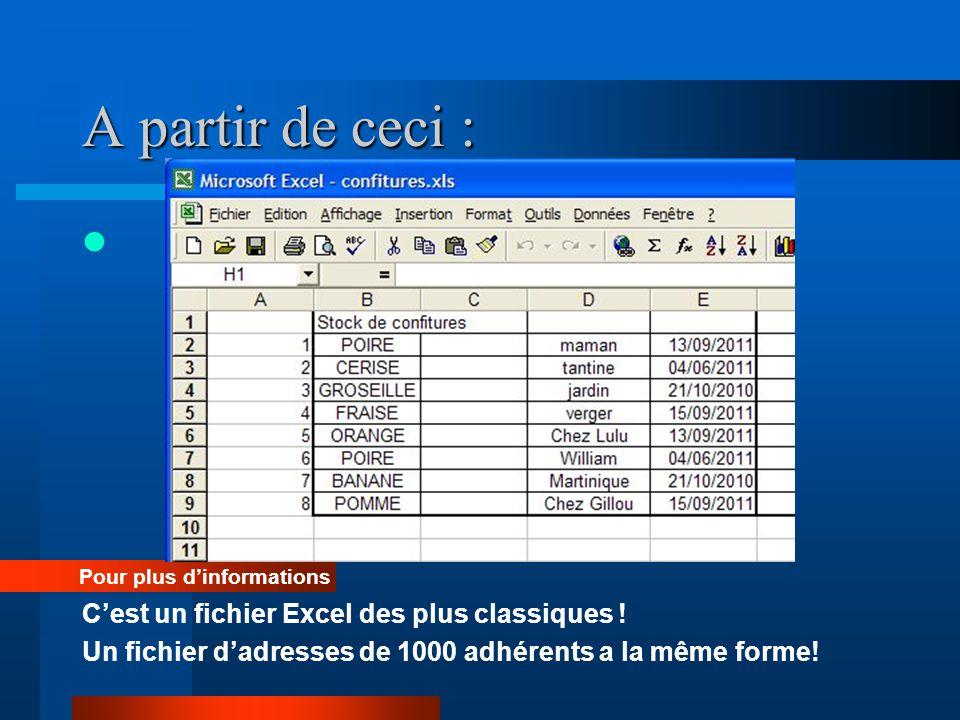 A partir de ceci : Pour plus dinformations Cest un fichier Excel des plus classiques ! Un fichier dadresses de 1000 adhérents a la même forme!