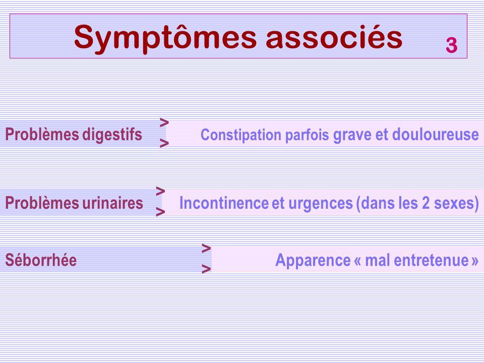 Symptômes associés Problèmes digestifs Séborrhée Problèmes urinaires Constipation parfois grave et douloureuse > Apparence « mal entretenue » > Incont
