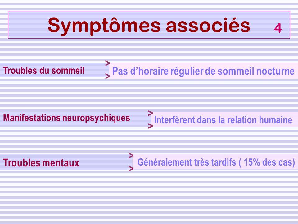 Manifestations neuropsychiques Troubles mentaux Symptômes associés Interfèrent dans la relation humaine Généralement très tardifs ( 15% des cas) 4 Tro