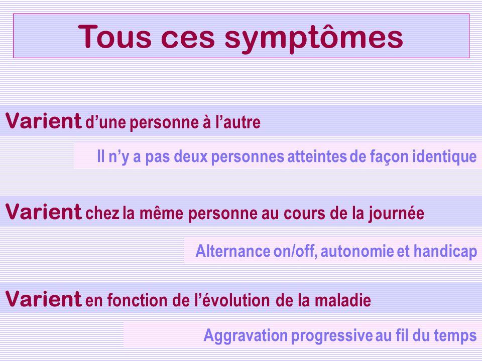 Tous ces symptômes Varient dune personne à lautre Varient chez la même personne au cours de la journée Varient e n fonction de lévolution de la maladi