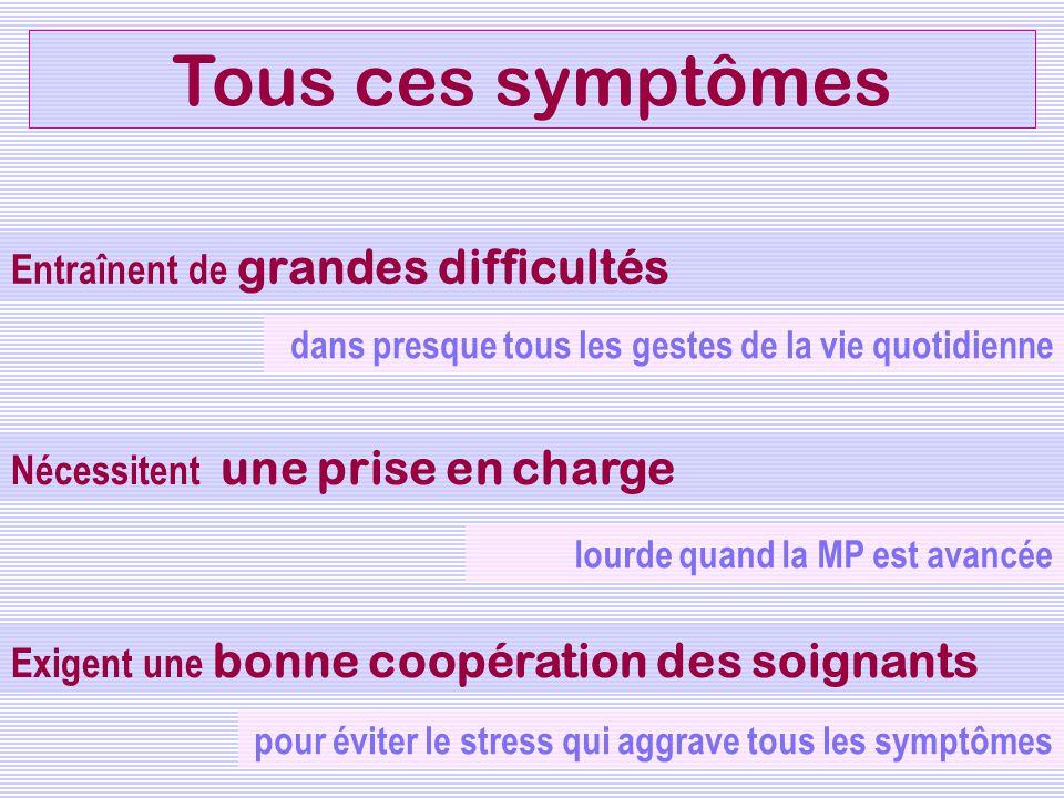 Tous ces symptômes Entraînent de grandes difficultés Nécessitent une prise en charge Exigent une bonne coopération des soignants pour éviter le stress