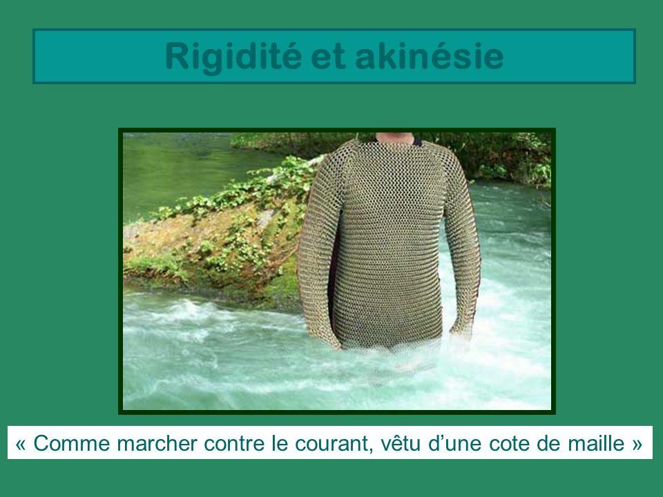 Rigidité et akinésie « Comme marcher contre le courant, vêtu dune cote de maille »