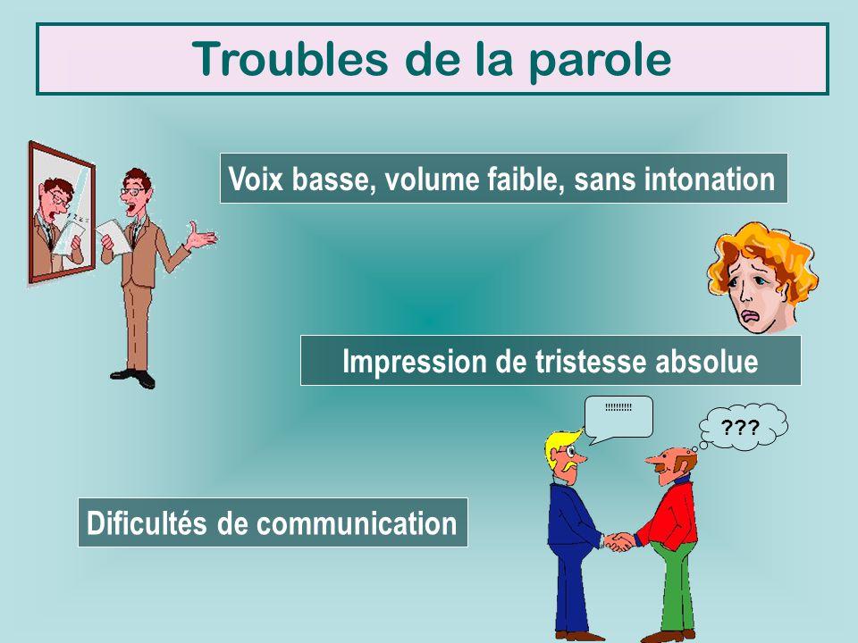 Troubles de la parole Voix basse, volume faible, sans intonation Impression de tristesse absolue Dificultés de communication !!!!!!!!!! ???