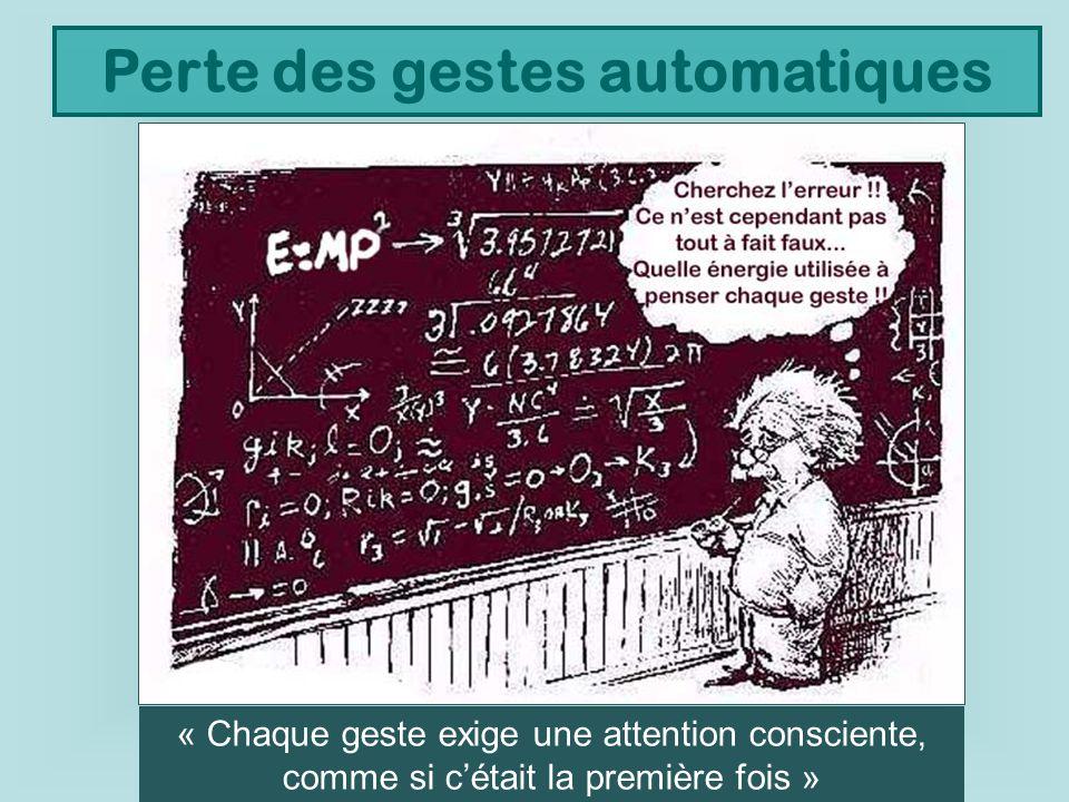 Perte des gestes automatiques « Chaque geste exige une attention consciente, comme si cétait la première fois »