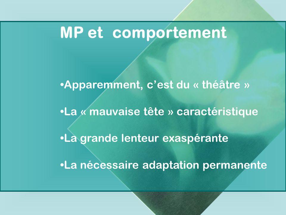 MP et comportement Apparemment, cest du « théâtre » La « mauvaise tête » caractéristique La grande lenteur exaspérante La nécessaire adaptation perman