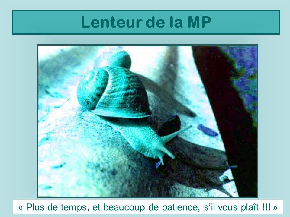 Lenteur de la MP « Plus de temps, et beaucoup de patience, sil vous plaît !!! »