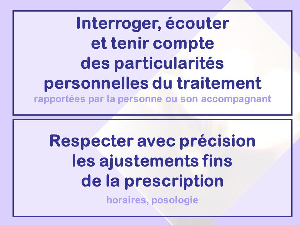 Respecter avec précision les ajustements fins de la prescription horaires, posologie Interroger, écouter et tenir compte des particularités personnell
