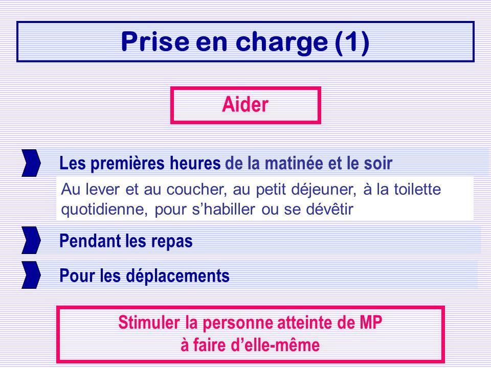 Prise en charge (1) Les premières heures de la matinée et le soir Pendant les repas Pour les déplacements Aider Stimuler la personne atteinte de MP à