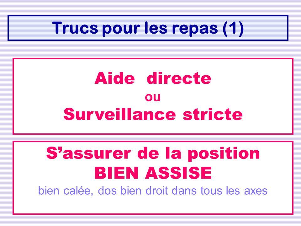 Trucs pour les repas (1) Aide directe ou Surveillance stricte Sassurer de la position BIEN ASSISE bien calée, dos bien droit dans tous les axes