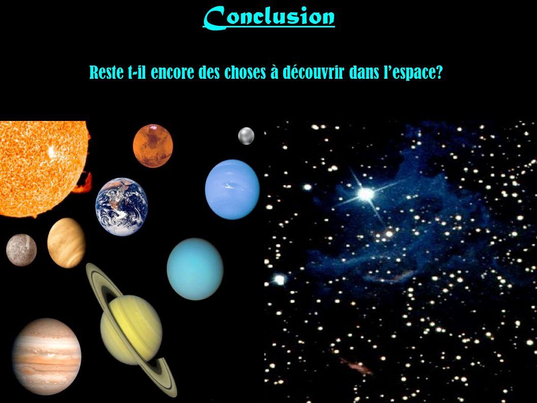 Conclusion Reste t-il encore des choses à découvrir dans lespace?