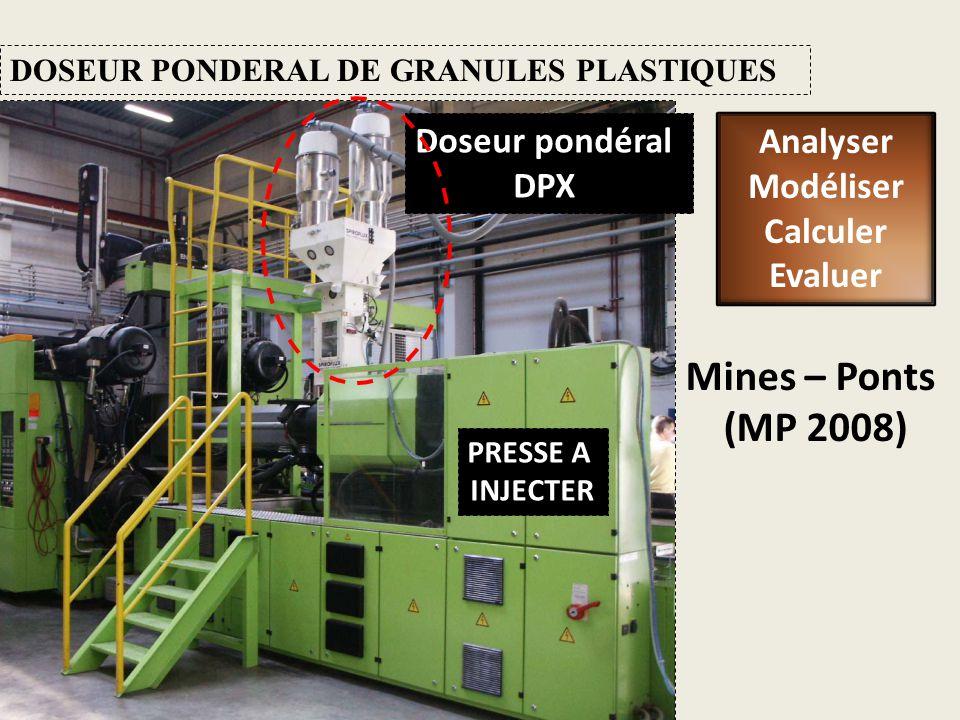 DOSEUR PONDERAL DE GRANULES PLASTIQUES Mines – Ponts (MP 2008) Doseur pondéral DPX PRESSE A INJECTER Analyser Modéliser Calculer Evaluer