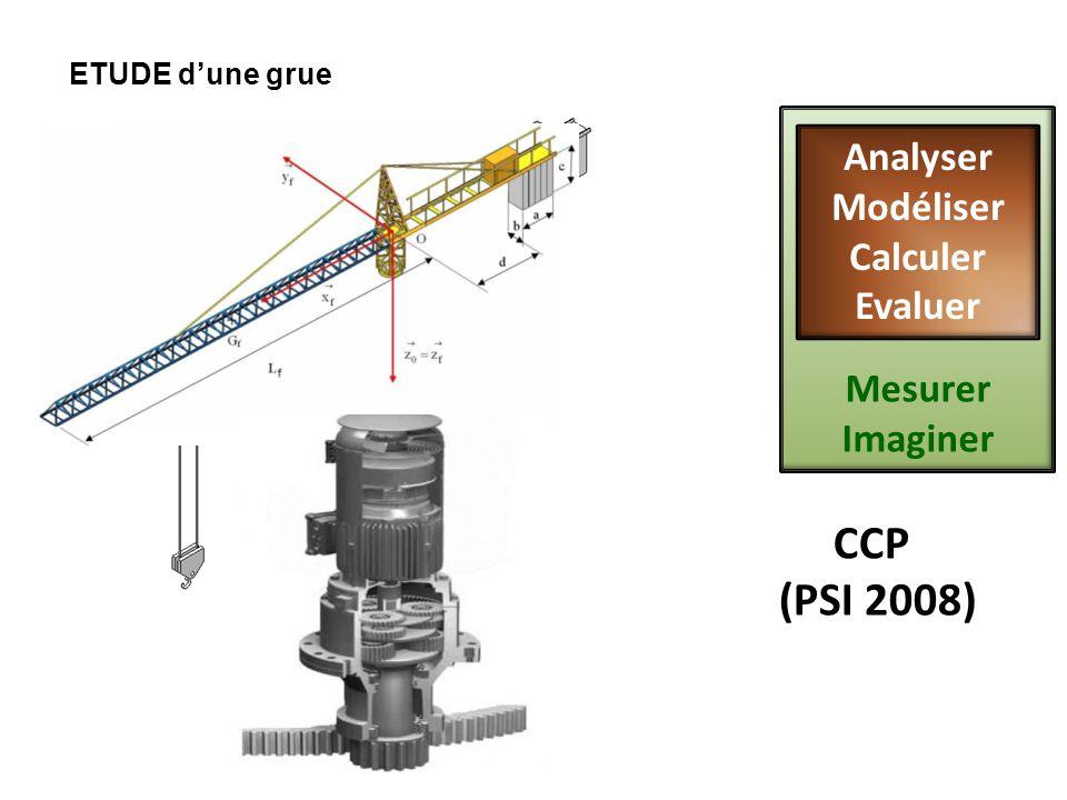 ETUDE dune grue CCP (PSI 2008) Mesurer Imaginer Analyser Modéliser Calculer Evaluer