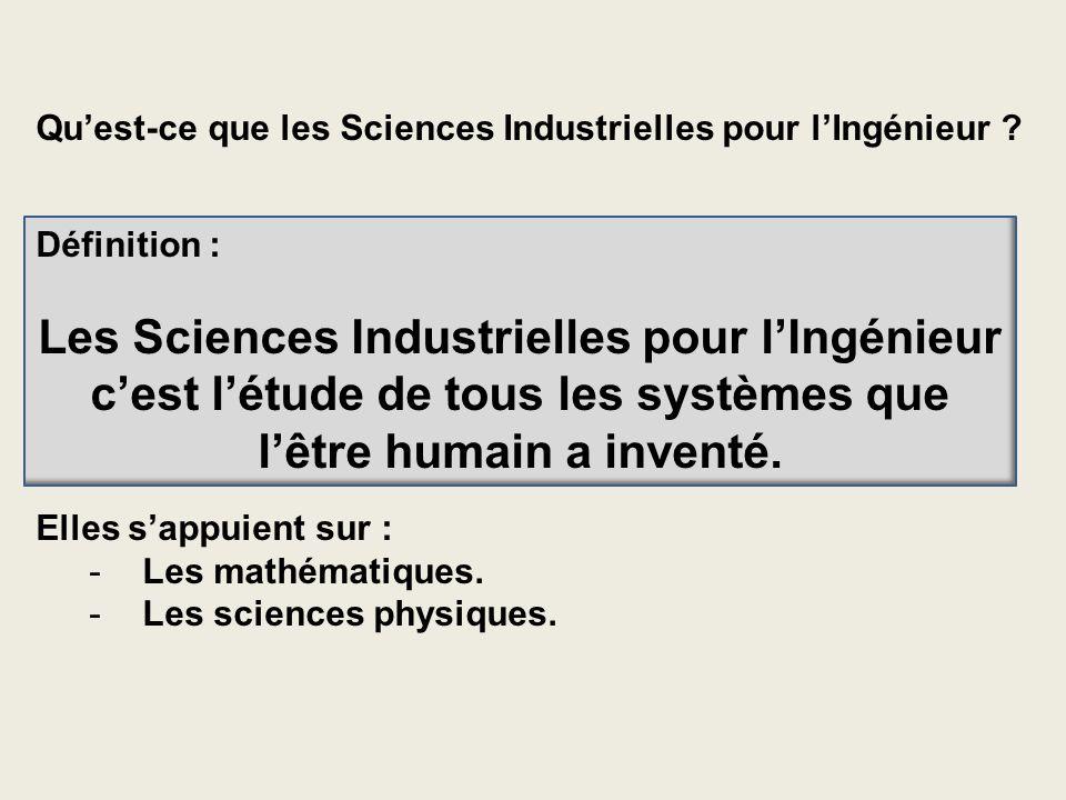 Quest-ce que les Sciences Industrielles pour lIngénieur ? Définition : Les Sciences Industrielles pour lIngénieur cest létude de tous les systèmes que