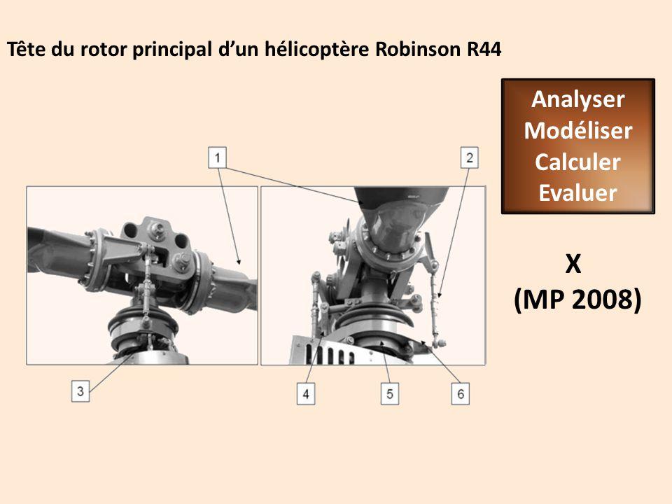 Tête du rotor principal dun hélicoptère Robinson R44 X (MP 2008) Analyser Modéliser Calculer Evaluer