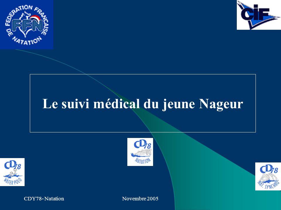 CDY78- NatationNovembre 2005 Le suivi médical du jeune Nageur