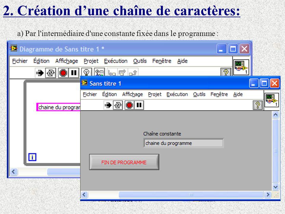 2. Création dune chaîne de caractères: a) Par l'intermédiaire d'une constante fixée dans le programme :