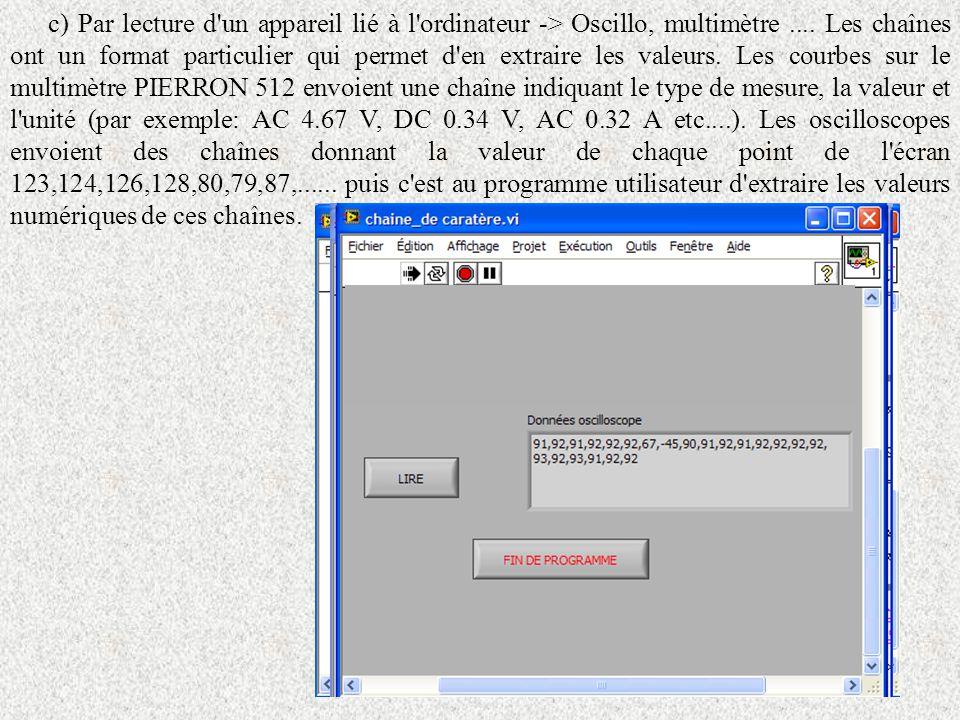 c) Par lecture d'un appareil lié à l'ordinateur -> Oscillo, multimètre.... Les chaînes ont un format particulier qui permet d'en extraire les valeurs.