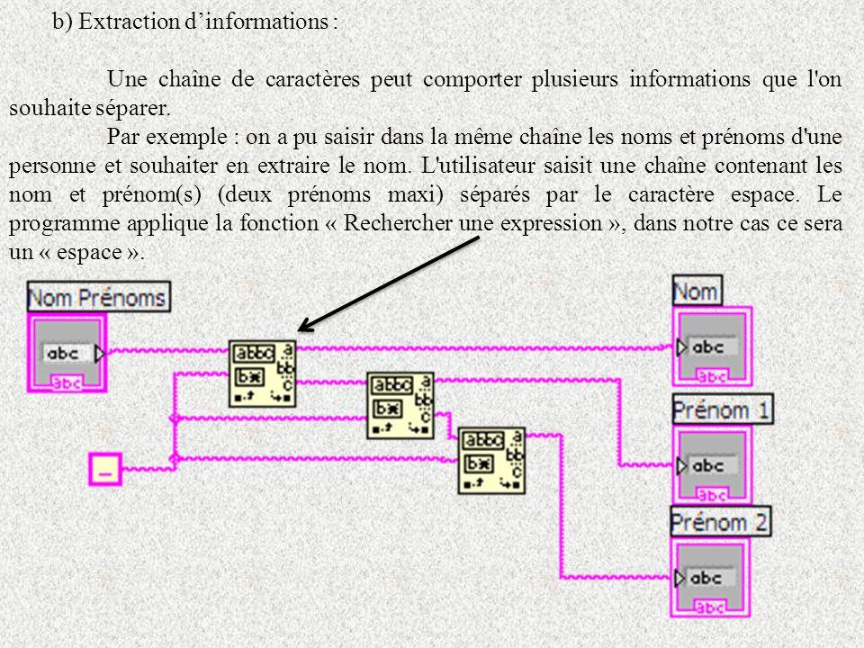 b) Extraction dinformations : Une chaîne de caractères peut comporter plusieurs informations que l'on souhaite séparer. Par exemple : on a pu saisir d